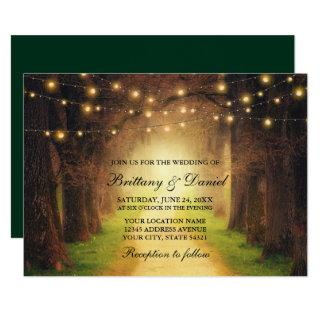 Rustic Forest Path String Lights Wedding Green Invitations