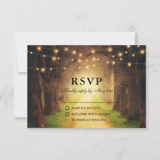 Rustic Forest Path with String Lights Wedding RSVP Card