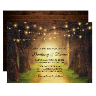 Rustic Forest Path Wood String Lights Wedding Invitation