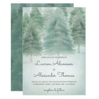 Rustic Forest | Watercolor Trees Wedding Invitation