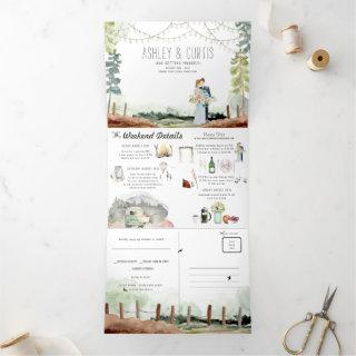 Rustic Forest Woods Wedding | Tri-Fold Invitation