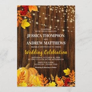 Rustic Glitter Pumpkin Autumn Wedding Invitation