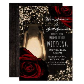Rustic Glow Lantern & Dark Red Roses Glam Wedding Invitation