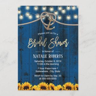 Rustic Gold Anchor Sunflowers Navy Bridal Shower Invitations
