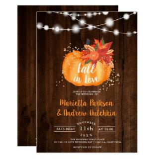 Rustic gold floral wood light fall in love wedding invitation