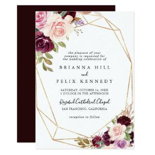 Rustic Gold Geometric Floral Traditional Wedding Invitations