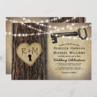Rustic Gothic Skeleton Key & Tree Heart Wedding Invitations
