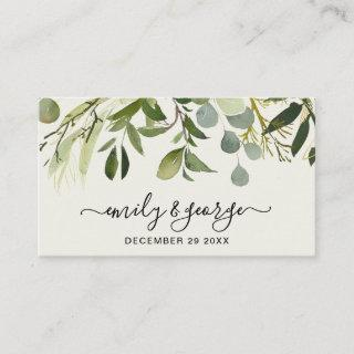 RUSTIC GREEN FOLIAGE WATERCOLOR WEDDING WEBSITE BUSINESS CARD