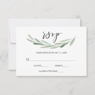 Rustic Green Olive Branch Simple Wedding RSVP