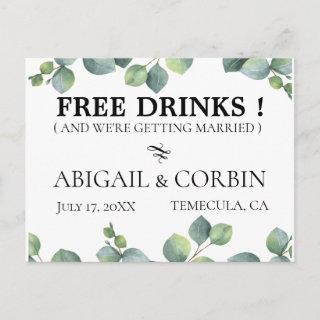 Rustic Greenery FREE DRINKS Save the Date Announcement Postcard