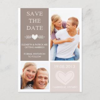 Rustic Heart Doodles Save the Date Photo Postcard