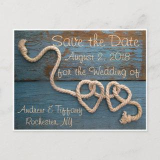 Rustic Heart Rope Wedding Save the Date Announcement Postcard
