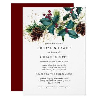 Rustic Holly and Berries Botanical Bridal Shower Invitation