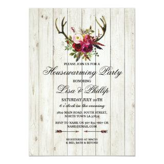 Rustic Housewarming Party Antlers Stag Invite