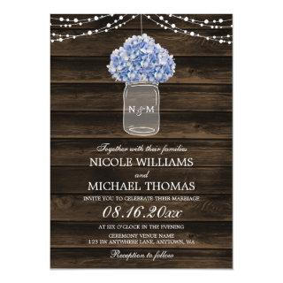 Rustic Hydrangea Mason Jar Barn Wood Wedding Invitation