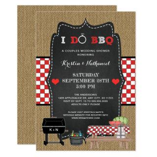 Rustic I DO BBQ couples wedding shower Invitations