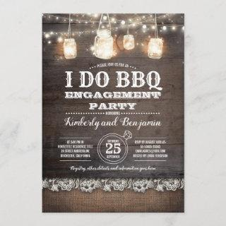 Rustic I DO BBQ Engagement Party Couples Shower Invitations