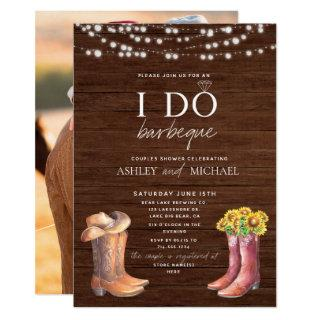 Rustic I Do BBQ Modern Country Couple Shower Photo Invitations