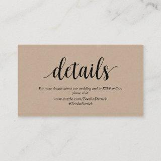 Rustic Kraft, Black, Wedding Details, RSVP online Enclosure Card