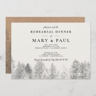 Rustic kraft Fall ivory pine rehearsal dinner Invitation