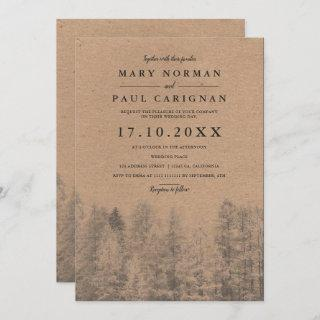 Rustic kraft Fall winter pine trees forest wedding Invitations