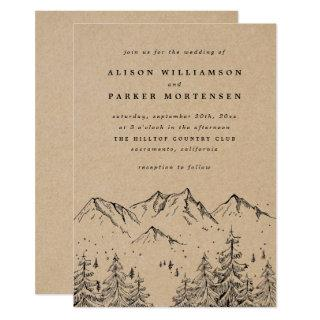 Rustic Kraft Hand-drawn Mountains & Pines Wedding Invitation