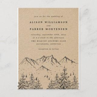 Rustic Kraft Hand-drawn Mountains & Trees Wedding Invitations Postcard