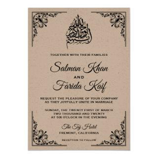 Rustic Kraft Islamic Muslim Wedding Invitations