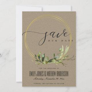 RUSTIC KRAFT LEAFY GREEN GOLD FOLIAGE WATERCOLOR SAVE THE DATE
