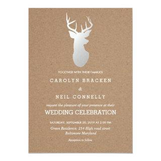 Rustic Kraft Paper Silver Antler Wedding Invitations