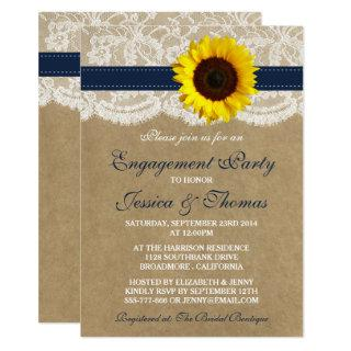 Rustic Kraft Sunflower Engagement Party Or Shower Invitation