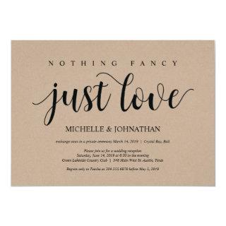 Rustic Kraft Wedding Elopement Reception Invites