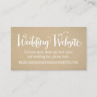Rustic Kraft Wedding White Script Website Enclosure Card