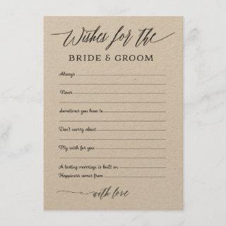 Rustic Kraft Wishes Advice for the Bride & Groom Enclosure Card