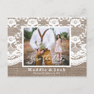 Rustic l Burlap and Lace Save the Date Postcard