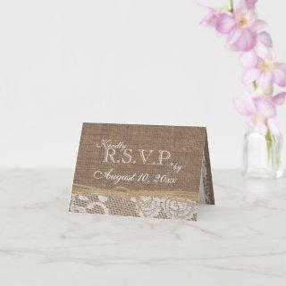Rustic Lace and Burlap and Jute Rope RSVP card