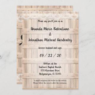 Rustic Lace and Roses Wedding Invitations