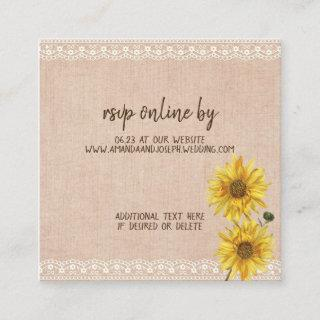Rustic Lace & Burlap Sunflowers Wedding RSVP Card