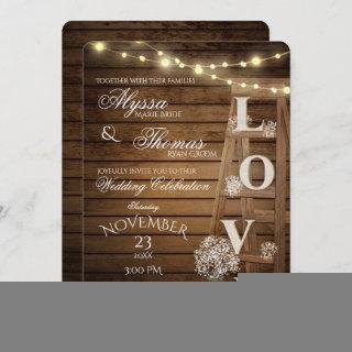 Rustic Ladder and Lights Love Wedding
