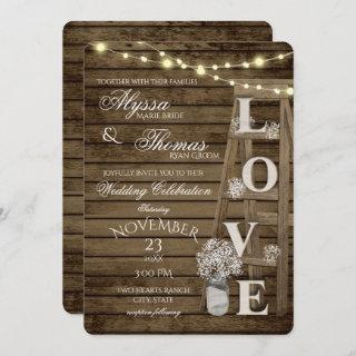Rustic Ladder and Lights Love Wedding Invitation