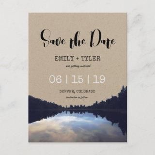 Rustic Lake Reflections Lakeside Save The Date Announcement Postcard