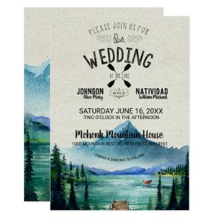 Rustic Lakeside Mountain Wedding Invitations