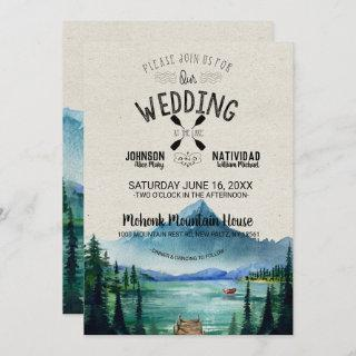 Rustic Lakeside Mountain Wedding Invitation