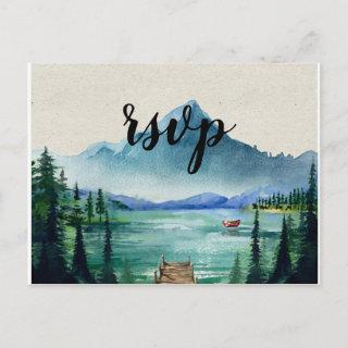 Rustic Lakeside RSVP Postcard with Meal Choice