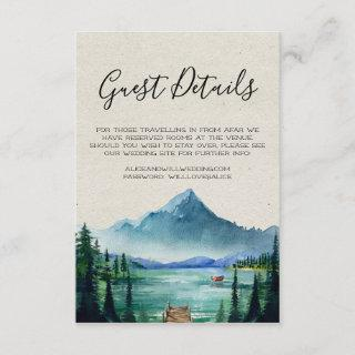 Rustic Lakeside Wedding Guest Details Card
