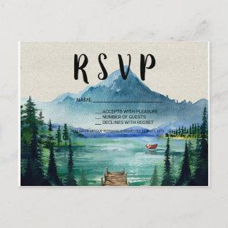 Rustic Lakeside Wedding RSVP Postcard