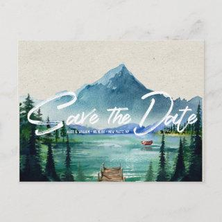 Rustic Lakeside Wedding | Save the Date Postcard