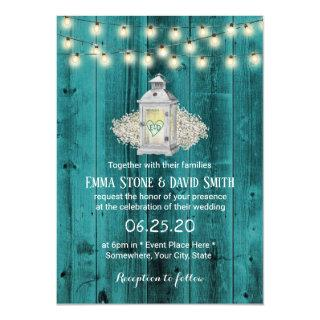 Rustic Lantern & String Lights Teal Barn Wedding Invitations