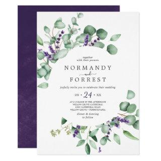 Rustic Lavender and Eucalyptus Casual Wedding Invitations