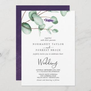 Rustic Lavender and Eucalyptus Wedding Invitations